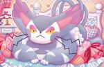 bed cat cat_focus closed_mouth creature frown gen_4_pokemon heart heart_pillow indoors lampshade lying official_art on_stomach pillow pokemon pokemon_(creature) pokemon_trading_card_game purugly shibuzoh whiskers yellow_eyes