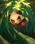 2013 bamboo bamboo_forest brown_eyes clouds cloudy_sky commentary creature day delano-laramie english_commentary forest full_body gen_5_pokemon highres jumping leaf mouth_hold nature no_humans outdoors pancham panda pokemon pokemon_(creature) signature sky solo