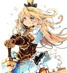 >:) 1girl armor armored_dress bangs blonde_hair blue_dress blue_eyes charlotta_fenia closed_mouth commentary_request crown dress eyebrows_visible_through_hair frilled_dress frills gauntlets granblue_fantasy hands_on_hilt harvin highres long_hair looking_at_viewer mini_crown outstretched_arms pointy_ears puffy_short_sleeves puffy_sleeves short_sleeves smile solo sparkle sword v-shaped_eyebrows venomrobo very_long_hair weapon white_background