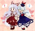 ! 2girls ahoge argyle argyle_background black_footwear blue_dress blue_headwear bow closed_eyes dress eighth_note frills fujiwara_no_mokou full_body hair_bow hands_together harunori_(hrnrx) hat hat_ribbon heart kamishirasawa_keine long_hair long_sleeves multicolored_hair multiple_girls musical_note neckerchief open_mouth pants pink_background red_bow red_eyes red_footwear red_neckwear red_pants red_ribbon ribbon shirt shoe_bow shoes short_sleeves silver_hair smile spoken_exclamation_mark spoken_musical_note touhou two-tone_hair white_legwear white_shirt