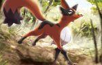 creature forest fox full_body gen_8_pokemon grass nature no_humans official_art pokemon pokemon_(creature) pokemon_trading_card_game saitou_kouki smirk solo thievul walking yellow_eyes