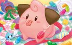 akanbe black_eyes candy cleffa creature food full_body gen_2_pokemon gen_3_pokemon holding_lollipop jelly_bean no_humans official_art plant pokemon pokemon_(creature) pokemon_trading_card_game shibuzoh solo standing swablu tongue tongue_out