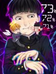 3boys angel artist_name bangs belt black_background black_eyes black_footwear black_hair black_jacket black_pants blonde_hair blunt_bangs buttons chibi crossed_legs demon demon_boy demon_horns demon_tail demon_wings ekubo_(mob_psycho_100) eyebrows_visible_through_hair feathered_wings formal full_body glowing grey_jacket grey_pants halo highres horns insertsomthinawesome jacket kageyama_shigeo long_sleeves looking_at_another looking_down male_focus mob_psycho_100 multiple_boys necktie number on_shoulder open_mouth pants pointing purple_neckwear red_wings reigen_arataka school_uniform shirt short_hair signature simple_background sitting sitting_on_shoulder smile suit sweat tail teeth upper_body watermark web_address white_shirt white_wings wings