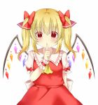 1girl alternate_hairstyle arm_behind_back arm_up blonde_hair commentary_request cravat eyebrows_visible_through_hair eyes_visible_through_hair finger_to_mouth flandre_scarlet hair_between_eyes hair_ribbon looking_at_viewer no_hat no_headwear puffy_short_sleeves puffy_sleeves red_eyes red_skirt red_vest ribbon shirt short_hair short_sleeves simple_background skirt solo touhou two_side_up upper_body vest white_background white_shirt wings wrist_cuffs yellow_neckwear yukina_kurosaki