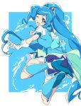 1girl ;d back_bow blue_background blue_bow blue_eyes blue_footwear blue_hair blue_legwear blue_skirt blue_theme blue_vest bow cure_fontaine full_body gloves hair_ornament healin'_good_precure heart heart_hair_ornament jumping kneehighs long_hair looking_at_viewer looking_back magical_girl one_eye_closed open_mouth ponytail precure sawaizumi_chiyu shoes skirt smile solo umanosuke vest white_gloves