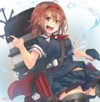 1girl adapted_turret ahoge akicosmossakasa black_serafuku brown_eyes brown_hair cannon cowboy_shot hairband highres index_finger_raised kantai_collection looking_at_viewer machinery neckerchief open_mouth red_hairband red_neckwear school_uniform serafuku shiratsuyu_(kantai_collection) short_hair signature smile smokestack solo turret upper_teeth water