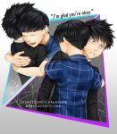 4boys artist_name back bangs black_hair black_jacket blue_shirt blunt_bangs brothers checkered checkered_shirt clenched_teeth closed_eyes crying crying_with_eyes_open gradient gradient_background highres hug insertsomthinawesome jacket kageyama_ritsu kageyama_shigeo long_sleeves looking_at_viewer male_focus mob_psycho_100 multiple_boys multiple_persona open_mouth school_uniform shirt short_hair short_sleeves siblings smile standing straight_hair tears teeth upper_body watermark web_address