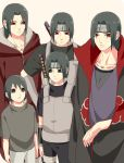 1boy age_comparison age_progression akatsuki_(naruto) akatsuki_uniform black_eyes black_hair black_sclera cloak closed_mouth forehead_protector headband jewelry konohagakure_symbol long_hair male_focus mangekyou_sharingan naruto_(series) necklace ninja older ponytail red_eyes sharingan shirt short_hair sword tarou_(0514251997) teenage uchiha_itachi weapon younger