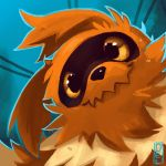 blue_background closed_mouth commentary creature delano-laramie english_commentary face gen_3_pokemon looking_at_viewer no_humans pokemon pokemon_(creature) signature simple_background solo yellow_eyes zigzagoon