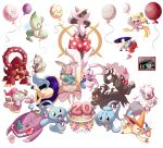 >_< ^_^ anniversary arceus balloon cake celebi closed_eyes darkrai deoxys diancie drinking_straw floating food gen_1_pokemon gen_2_pokemon gen_3_pokemon gen_4_pokemon gen_5_pokemon gen_6_pokemon gen_7_pokemon genesect highres hoopa jirachi keldeo magearna manaphy marshadow meloetta meloetta_(aria) multiple_sources nintooner one_eye_closed phione pokemon portal portal_(series) rawst_berry shaymin shaymin_(land) transparent_background victini volcanion