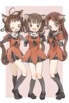 3girls :3 animal_ear_fluff animal_ears antenna_hair bangs black_footwear black_gloves black_legwear black_neckwear blush bow brown_eyes brown_hair cat_ears cat_tail double_bun dress elbow_gloves fang full_body gloves hair_between_eyes hair_bow highres jintsuu_(kantai_collection) kantai_collection kneehighs kyabetsu_myonmyon long_hair multiple_girls naka_(kantai_collection) one_eye_closed open_mouth paw_pose sailor_collar sailor_dress sendai_(kantai_collection) short_hair simple_background standing tail two-tone_background two_side_up