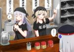 absurdres ak-12_(girls_frontline) an-94_(girls_frontline) bandana closed_eyes commentary_request cooking food girls_frontline highres hk416_(girls_frontline) lexis_yayoi noodles ramen restaurant shirt sweatdrop t-shirt translation_request