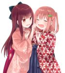2girls =_= bangs black_bow blue_bow blue_hakama blunt_bangs blush bow brown_eyes brown_hair brown_kimono cheek_pinching chiune_(yachi) closed_eyes copyright_request eyebrows_visible_through_hair floral_print hair_between_eyes hair_bow hair_ornament hairclip hakama hand_on_another's_shoulder hands_up highres japanese_clothes kimono long_hair long_sleeves looking_at_another multiple_girls one_side_up open_mouth pinching print_kimono purple_hakama red_kimono simple_background sweat very_long_hair white_background wide_sleeves