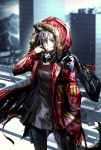 1girl arknights black_legwear building city cityscape coat fur-trimmed_coat fur-trimmed_hood fur_trim highres hood hood_up hooded_coat hooded_jacket jacket long_sleeves looking_at_viewer nishioka_tomozo open_mouth outdoors projekt_red_(arknights) red_coat scenery solo wolf_girl yellow_eyes