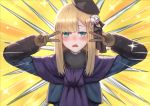 1girl bangs black_headwear blonde_hair blue_eyes blue_jacket blue_scarf blush breasts brown_gloves double_v emotional_engine_-_full_drive fate/grand_order fate_(series) flower fur_collar gloves gomashiwo_o gray_(lord_el-melloi_ii) grey_flower hands_up jacket long_hair long_sleeves looking_at_viewer lord_el-melloi_ii_case_files open_mouth parody reines_el-melloi_archisorte rose scarf small_breasts solo sparkle tilted_headwear v volumen_hydragyrum white_flower white_rose yellow_background