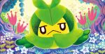 black_eyes closed_mouth creature flower frown full_body gen_5_pokemon grass looking_at_viewer no_humans official_art pokemon pokemon_(creature) pokemon_trading_card_game shibuzoh solo swadloon