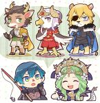 animal_ears animalization antlers beak blue_hair byleth_(fire_emblem) byleth_(fire_emblem)_(male) cape claude_von_riegan company_connection cravat deer_ears dimitri_alexandre_blaiddyd doubutsu_no_mori dragon_tail earrings edelgard_von_hresvelg eyepatch feathered_wings fire_emblem fire_emblem:_three_houses frown green_hair hooves horned_headwear jewelry lion_ears lion_tail rhea_(fire_emblem) tail talons teijiro tiara wings