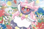 :d black_eyes blue_sky castle closed_eyes clouds cloudy_sky creature day diancie facing_another floette flower gen_6_pokemon hand_up happy holding holding_flower looking_at_another mizue no_humans official_art open_arms open_mouth outdoors pokemon pokemon_(creature) pokemon_trading_card_game red_eyes sky smile