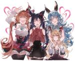 4girls bangs bare_shoulders bat_wings black_bow black_hair black_legwear black_skirt blonde_hair blue_hair blush bow braid breasts brown_skirt clarisse_(granblue_fantasy) closed_eyes closed_mouth cross-laced_clothes ear_piercing erune fang ferry_(granblue_fantasy) granblue_fantasy grey_shirt hair_between_eyes hair_bow hair_ribbon hand_up head_wings heart high-waist_skirt highres large_breasts long_hair long_sleeves looking_at_viewer low_twintails multiple_girls nier_(granblue_fantasy) open_mouth orange_hair piercing pointy_ears red_bow red_eyes red_skirt red_sweater ribbon shirt shoulder_cutout simple_background skirt sleeveless sleeveless_turtleneck small_breasts smile sweater thigh-highs thighs turtleneck twin_braids twintails v vampy very_long_hair waltz_(tram) wavy_hair white_background white_shirt wings yellow_eyes