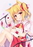 1girl :d absurdres animal_ear_fluff animal_ears ascot bangs blouse blush cat_ears commentary_request crystal eyebrows_visible_through_hair fang feet_out_of_frame flandre_scarlet frilled_shirt_collar frills grey_background hair_ribbon hand_up head_tilt heart highres holding holding_stuffed_animal kemonomimi_mode knees_up looking_at_viewer miniskirt miy@ no_hat no_headwear one_side_up open_mouth paw_print petticoat red_eyes red_ribbon red_skirt red_vest ribbon short_hair simple_background sitting skirt smile solo spoken_heart stuffed_animal stuffed_cat stuffed_toy touhou vest wings wrist_cuffs yellow_neckwear