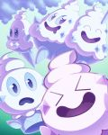 >_< ^_^ closed_eyes commentary english_commentary floating frown gen_5_pokemon highres looking_at_another nintooner pokemon smile vanillish vanillite vanilluxe