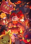 bird castform castform_(sunny) charizard charmander chimchar cliff closed_eyes commentary creature cyndaquil dragon english_commentary entei eye_contact fiery_hair fiery_tail fire flame flareon flexing flying gen_1_pokemon gen_2_pokemon gen_3_pokemon gen_4_pokemon gen_5_pokemon gen_7_pokemon grin heatran highres incineroar jumping litten looking_at_another lushiesart magby moltres monkey night night_sky outdoors pansear pokemon pokemon_(creature) pose rapidash salazzle signature sky smile star_(sky) starry_sky tail tepig torchic torkoal unicorn