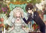 1boy 1girl black_hair blonde_hair bridal_veil candle candlestand commentary dress flower gloves han_jiu_(456116642) hanako_(jibaku_shounen_hanako-kun) jewelry jibaku_shounen_hanako-kun long_hair magatama_necklace necklace orange_eyes rose sitting veil wedding_dress white_dress white_gloves yashiro_nene