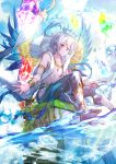 1boy barefoot blue_eyes blue_ribbon blue_wings bracelet company_name crown crystal day heterochromia ibara_riato jewelry male_focus official_art outdoors red_eyes ribbon sitting water watermark white_hair wings z/x