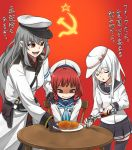3girls alcohol aqua_neckwear bangs belt black_gloves bottle braid breasts chair closed_eyes closed_mouth cup drinking_glass etorofu_(kantai_collection) eyebrows_visible_through_hair flat_cap food gangut_(kantai_collection) gloves grey_hair hammer_and_sickle hand_on_another's_shoulder hat hibiki_(kantai_collection) holding kantai_collection long_hair long_sleeves multiple_girls open_mouth plate pleated_skirt red_background redhead sailor_collar sailor_hat school_uniform serafuku shaded_face short_hair shot_glass side_braids sitting skirt star table thigh-highs translation_request verniy_(kantai_collection) vodka wavy_mouth white_hair yohei_(pizzadev)