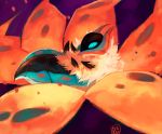 blue_eyes bug commentary creature delano-laramie english_commentary flying full_body gen_5_pokemon insect moth no_humans pokemon pokemon_(creature) purple_background signature simple_background volcarona