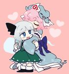 2girls black_footwear black_neckwear black_ribbon blue_eyes blue_headwear blue_kimono closed_eyes frilled_skirt frills full_body green_skirt green_vest grey_hair hair_ribbon harunori_(hrnrx) hat heart hug hug_from_behind japanese_clothes kimono konpaku_youmu konpaku_youmu_(ghost) long_sleeves mob_cap multiple_girls open_mouth pink_background pink_hair ribbon saigyouji_yuyuko shirt shoes short_hair skirt sleeves_past_fingers sleeves_past_wrists smile socks touhou triangular_headpiece vest white_legwear white_shirt