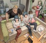 2boys 2girls apron beard blue_hair brown_hair byleth_(fire_emblem) byleth_(fire_emblem)_(female) byleth_(fire_emblem)_(male) cat commentary_request contemporary couch facial_hair facial_scar family father_and_daughter father_and_son fire_emblem fire_emblem:_three_houses glass green_hair highres jeralt_reus_eisner korokoro_daigorou long_hair mother_and_daughter mother_and_son multiple_boys multiple_girls nintendo_switch pantyhose plant playing_games potted_plant scar scar_on_cheek scarf sitri_(fire_emblem) skateboard sleeping_animal smile sweater tray