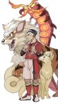 1boy arcanine black_eyes black_hair blue_eyes centiskorch claws closed_mouth commentary fangs fire full_body gen_1_pokemon gen_8_pokemon green_eyes gym_leader half-closed_eyes hands_up highres kabu_(pokemon) kneehighs long_sleeves male_focus multicolored_hair ninetales open_mouth pokemon pokemon_(creature) pokemon_(game) pokemon_swsh red_eyes red_footwear red_legwear red_shirt red_shorts shirt shirt_tucked_in shoes short_hair short_over_long_sleeves short_sleeves shorts side_slit simple_background standing tachibana_(7k_yj) tongue towel towel_around_neck two-tone_hair white_background white_hair yellow_sclera