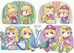 blonde_hair bow_(weapon) dark_skin dress hat link looking_at_viewer master_sword multiple_persona open_mouth pink_dress pointy_ears princess_zelda scarf shield smile sword teijiro tetra the_legend_of_zelda the_legend_of_zelda:_spirit_tracks the_legend_of_zelda:_the_wind_waker tiara toon_link upper_body weapon