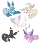 brown_eyes charamells commentary creature english_commentary espeon eye_contact full_body gen_2_pokemon gen_4_pokemon gen_6_pokemon glaceon leafeon looking_at_another lying no_humans on_stomach pokemon pokemon_(creature) red_eyes simple_background sylveon umbreon violet_eyes white_background