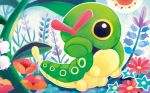 caterpie creature flower full_body gen_1_pokemon no_humans official_art plant pokemon pokemon_(creature) pokemon_trading_card_game shibuzoh sky solo sun