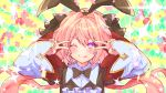1boy astolfo_(fate) astolfo_(saber)_(fate) bangs black_bow black_dress black_neckwear black_ribbon blush bow bowtie closed_mouth double_v dress emotional_engine_-_full_drive fate/grand_order fate_(series) floral_background green_background hair_between_eyes hair_bow hair_intakes hair_ribbon hands_up highres ittokyu long_hair long_sleeves looking_at_viewer low_twintails multicolored_hair one_eye_closed otoko_no_ko parody pink_hair ribbon smile solo sparkle star streaked_hair striped striped_background tongue tongue_out twintails v violet_eyes white_hair wide_sleeves wing_collar yellow_background
