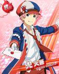 blue_eyes cap character_name idolmaster idolmaster_side-m jacket kabuto_daigo letter necktie pink_hair short_hair smile