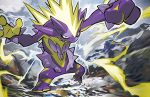 black_eyes closed_mouth creature electricity full_body gen_8_pokemon looking_at_viewer no_humans official_art pokemon pokemon_(creature) pokemon_trading_card_game rock serious solo tokiya toxtricity toxtricity_(amped) walking water