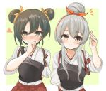 2girls alternate_hairstyle commentary_request dark_green_hair double_bun embarrassed green_background hair_bun hairband hakama hakama_skirt japanese_clothes kantai_collection kasashi_(kasasi008) long_hair looking_at_viewer looking_to_the_side multiple_girls muneate orange_hairband red_hakama red_skirt shoukaku_(kantai_collection) silver_hair skirt tasuki two-tone_background upper_body yellow_eyes zuikaku_(kantai_collection)