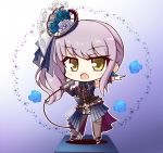 1girl :o alternate_hairstyle ankle_belt back_bow bang_dream! bangs belt black_belt black_ribbon blue_background blue_dress blue_flower blue_ribbon blue_rose blue_sleeves blush bow cable center_frills chibi commentary_request detached_sleeves dress earrings eyebrows_visible_through_hair flower frilled_sleeves frills full_body gloves gradient gradient_background grey_legwear hair_ornament hair_ribbon hasewox highres holding holding_microphone jewelry lavender_hair layered_skirt long_hair looking_at_viewer microphone minato_yukina music neck_ribbon outstretched_arm pantyhose ribbon rose rose_earrings shadow sheer_clothes side_ponytail sidelocks singing sleeveless sleeveless_dress solo sparkle standing white_background white_dress white_footwear white_gloves yellow_eyes