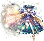 1girl blue_dress blue_ribbon cape crescent crescent_hair_ornament dress full_body green_hair hair_ornament hitsuji_chronicle holding holding_sword holding_weapon looking_at_viewer magic_circle navel official_art pandora_(hitsuji_chronicle) ribbon sheath short_hair smile solo standing standing_on_one_leg star sword thigh-highs transparent_background weapon white_legwear yellow_cape