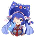 1girl animal_ears arami_o_8 bell bell_collar blue_eyes blue_hair blue_shirt blush bow cat_day cat_ears cat_tail cheek_pinching collar commentary cropped_torso disembodied_hands eel_hat fang furrowed_eyebrows hair_ornament korean_commentary korean_text long_hair looking_at_viewer necktie one_eye_closed open_mouth otomachi_una pinching pov pov_hands red_neckwear sailor_collar shirt short_sleeves skin_fang tail tail_bow twintails upper_body very_long_hair vocaloid white_background