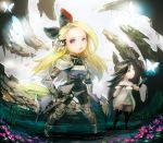 2girls agnes_oblige armor black_hair blonde_hair blue_eyes bodystocking bow bravely_default:_flying_fairy bravely_default_(series) breasts bug butterfly dress edea_lee gloves hair_bow insect long_hair looking_at_viewer miyamoto_(krmc) multiple_girls open_mouth thigh-highs