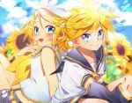 1boy 1girl bangs bare_shoulders bass_clef black_collar black_shorts blonde_hair blue_eyes bow bubble clouds cloudy_sky collar commentary crop_top day detached_sleeves field flower flower_field grey_shorts hair_bow hair_ornament hairclip hand_to_own_mouth kagamine_len kagamine_rin knees_up leg_warmers looking_at_viewer nail_polish neckerchief necktie nyaumineko open_mouth outdoors sailor_collar school_uniform shirt short_hair short_ponytail short_shorts short_sleeves shorts sitting sky smile spiky_hair sunflower swept_bangs vocaloid white_bow white_shirt yellow_nails yellow_neckwear