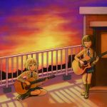 2girls ^_^ acoustic_guitar album_cover aoba_moca bang_dream! bangs bare_thighs black_hair black_legwear blue_eyes blue_neckwear blue_skirt blunt_bangs bob_cut breasts brick_wall closed_eyes collared_shirt commentary_request cover door eyebrows_visible_through_hair full_body gradient_sky grey_hair grey_jacket guitar haneoka_school_uniform highres holding holding_instrument instrument jack_(jacknoeaka) jacket kneehighs loafers long_sleeves looking_at_another medium_breasts mitake_ran multicolored_hair multiple_girls music necktie open_mouth orange_sky plaid plaid_skirt playing_instrument railing redhead rooftop school_uniform shadow shirt shoes short_hair sidelocks signature sitting skirt sky smile standing strap streaked_hair striped striped_neckwear sunset white_shirt yokozuwari |d