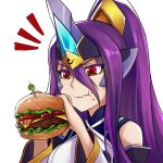 1girl backless_dress backless_outfit bare_shoulders blazblue breasts detached_sleeves dootmoon dress eating food forehead_protector hair_between_eyes hamburger hamburger_steak headgear holding holding_food horn long_hair mikado_(blazblue) olive ponytail purple_hair red_eyes sandwich small_breasts solo tomato very_long_hair
