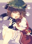 1girl animal_ears bloomers blush brown_hair cat_day cat_ears cat_tail chen closed_eyes commentary feet_out_of_frame frills green_headwear hat highres holding_own_tail mob_cap multiple_tails nikorashi-ka open_mouth paw_print_pattern red_skirt red_vest shirt short_hair short_sleeves sitting skirt smile solo tail touhou two_tails underwear vest white_shirt