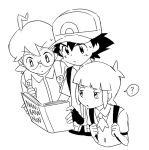 3boys ? ahoge baseball_cap black_hair blonde_hair blue_jumpsuit book citron_(pokemon) djmn_c eyebrows_visible_through_hair glasses green_hair hat lineart male_focus monochrome multiple_boys open_mouth pokemon pokemon_(anime) pokemon_xy_(anime) reading satoshi_(pokemon) shouta_(pokemon) spiky_hair sweat tagme