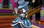 1girl battle_chatelaine_(pokemon) blue_dress blue_headwear blue_theme dress feet_out_of_frame hat indoors lesoir_(pokemon) looking_at_viewer mizutani_megumi official_art pokemon pokemon_trading_card_game solo stairs standing top_hat